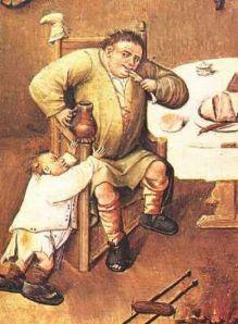 """Imagem: """"Gula"""", de Bosch. """"No verdadeiro homem medíocre, a cabeça é um simples adorno"""". (José Ingenieros)."""