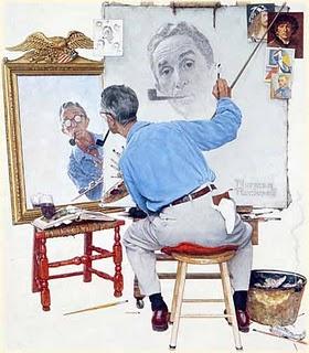 Auto-retrato Triplo – Norman Rockwell, de 1960, note-se que ele não se retrata com óculos.