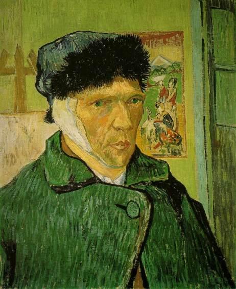 Van Gogh em um dos seus autorretratos com a orelha enfaixada.